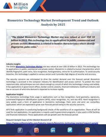 Biometrics Technology Market Development Trend and Outlook Analysis by 2025