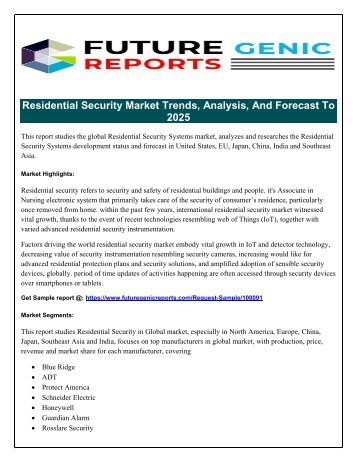Global Residential Security Systems Market- Positive Long-Term Growth Outlook 2018-2025
