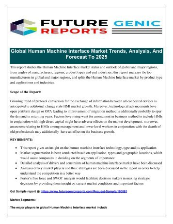 Global Human Machine Interface (HMI) Market: Players to Intensify Competition with Rising Technological Innovations Says Future Generic Reports