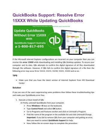QuickBooks Support: Resolve error 15XXX while updating QuickBooks