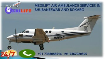 Medilift air ambulance services in Bhubaneswar and Bokaro