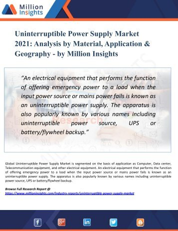 Uninterruptible Power Supply Market Segmented by Material, Type, Application, and Geography - Growth, Trends and Forecast 2021