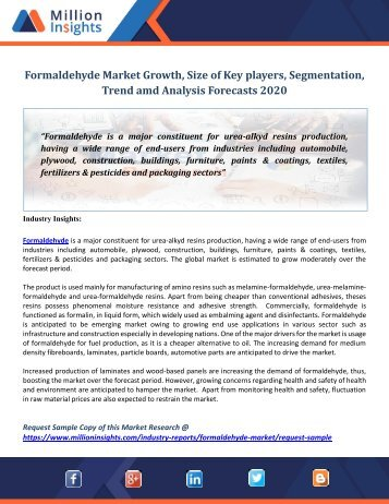 Formaldehyde Market Growth, Size of Key players, Segmentation, Trend amd Analysis Forecasts 2020
