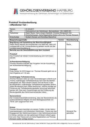 2017-03-01 Protokoll Vorstandssitzung GLVHH - öffentlicher Teil