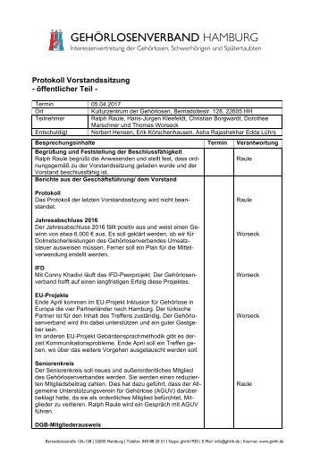 2017-04-05 Protokoll Vorstandssitzung GLVHH - öffentlicher Teil