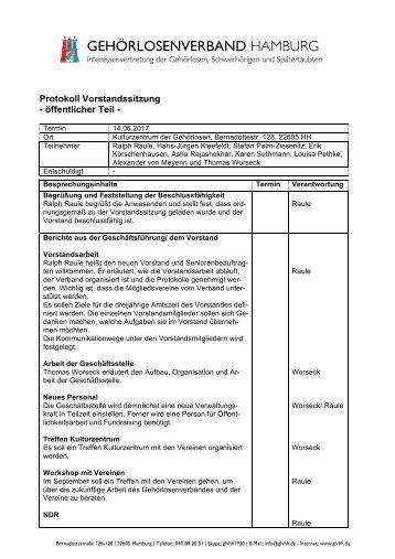 2017-06-14 Protokoll Vorstandssitzung GLVHH - öffentlicher Teil