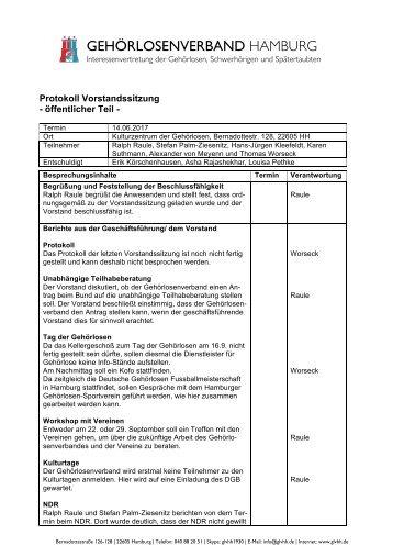 2017-07-03 Protokoll Vorstandssitzung GLVHH - öffentlicher Teil