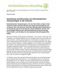 Sammlung und Recycling von Getränkekarton - Kommunale ...