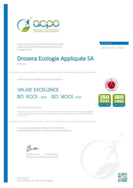 Certifications Drosera