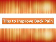 Tips to Improve Back Pain