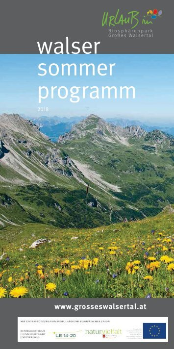 Sommerprogramm Grosses Walsertal 2018