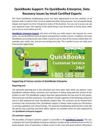 QuickBooks Support Fix QuickBooks Enterprise, Data Recovery issues by Intuit Certified Experts