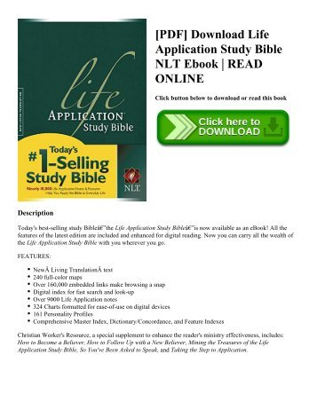 [PDF] Download Life Application Study Bible NLT Ebook  READ ONLINE