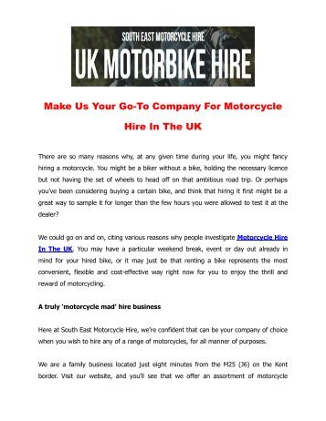 Make Us Your Go-To Company For Motorcycle Hire In The UK