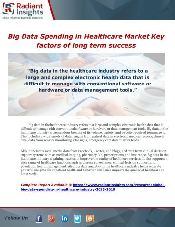 Big Data Spending in Healthcare Industry 2015-2019