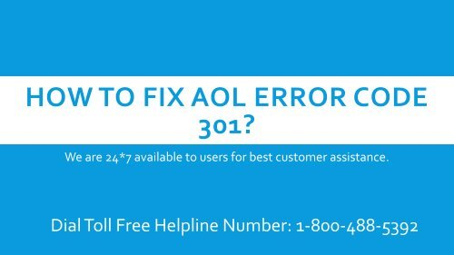18004885392 How to Fix AOL Error Code 301