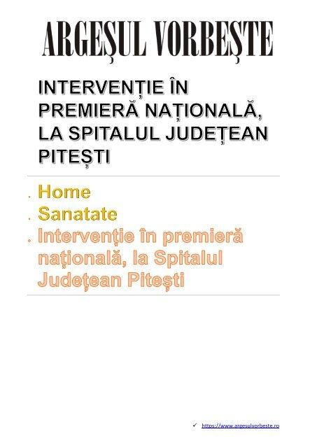 INTERVENȚIE ÎN PREMIERĂ NAȚIONALĂ