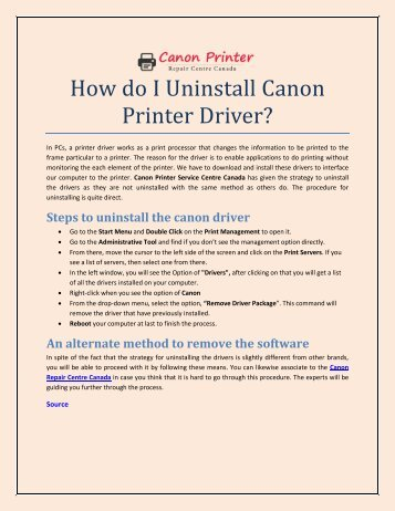 How do I Uninstall Canon Printer Driver