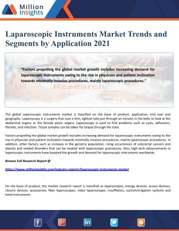 Laparoscopic Instruments Market Trends and Segments by Application 2021