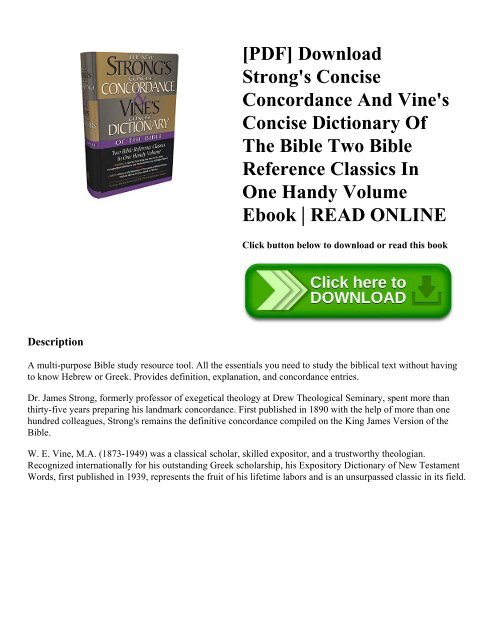 PDF Download Strong S Concise Concordance And Vine S