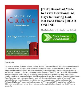 [PDF] Download Made to Crave Devotional 60 Days to Craving God  Not Food Ebook  READ ONLINE