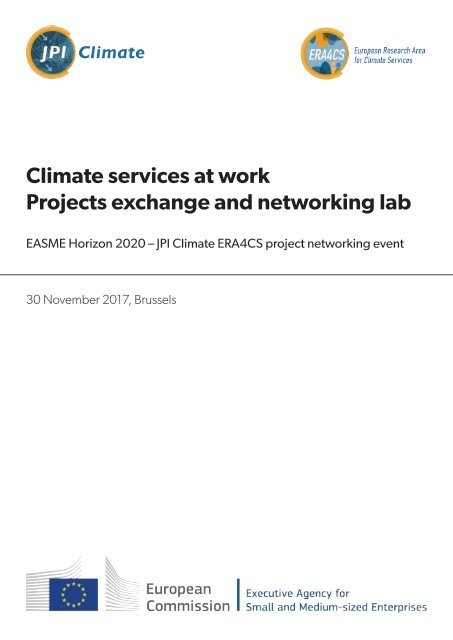 Climate Services at work - ERA4CS Projects exchange and networking lab