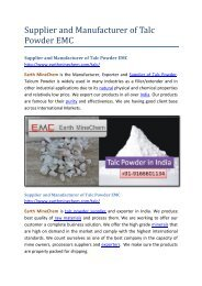 Supplier and Manufacturer of Talc Powder EMC