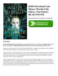 [PDF] Download Lake Silence (World of the Others  The) Ebook  READ ONLINE
