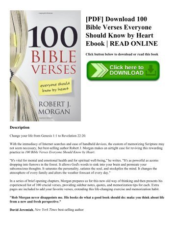 [PDF] Download 100 Bible Verses Everyone Should Know by Heart Ebook  READ ONLINE