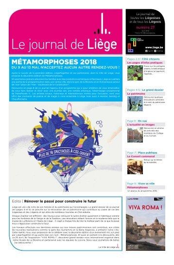 Votre Journal de Liège du mois d'avril 2018