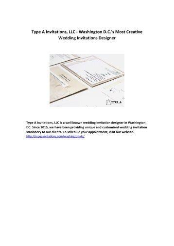 Type A Invitations, LLC - Washington D.C.'s Most Creative Wedding Invitations Designer