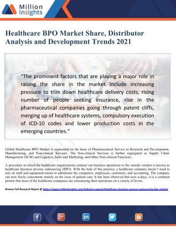 Healthcare BPO Market Share, Distributor Analysis and Development Trends 2021