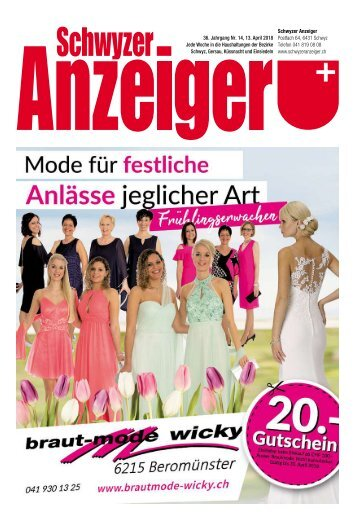 Schwyzer Anzeiger – Woche 15 – 13. April 2018