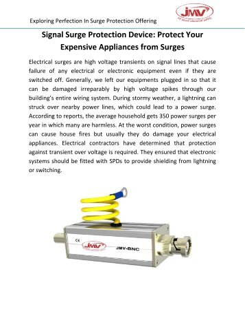 Signal Surge Protection Device: Protect Your Expensive Appliances from Surges