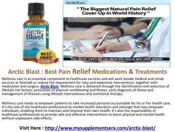 Arctic Blast : Eliminate The Joint Pain In Our Body