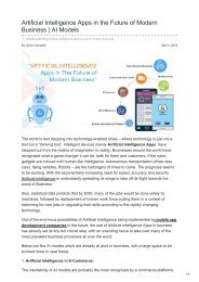 Artificial Intelligence Apps in the Future of Modern Business  AI Models