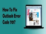 How to Fix Outlook Error Code 701? 1-800-213-3740
