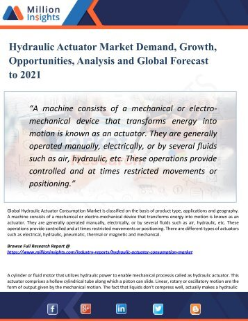 Hydraulic Actuator Market Regional Analysis, Industry Growth, Size, Share, Forecast 2021