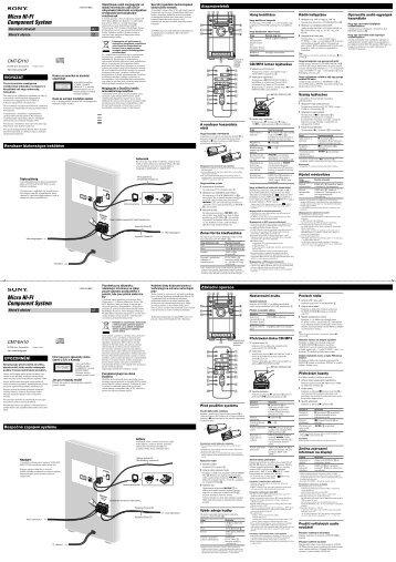 Sony CMT-EH10 - CMT-EH10 Consignes d'utilisation Tchèque