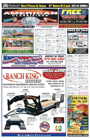 American Classifieds April 12th Edition Bryan/College Station