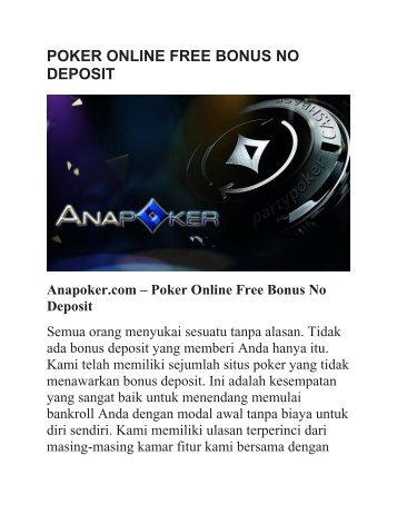 POKER ONLINE FREE BONUS NO DEPOSIT