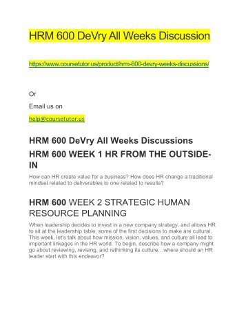 HRM 600 DeVry All Weeks Discussions