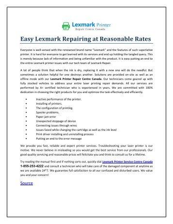 Easy Lexmark Repairing at Reasonable Rates