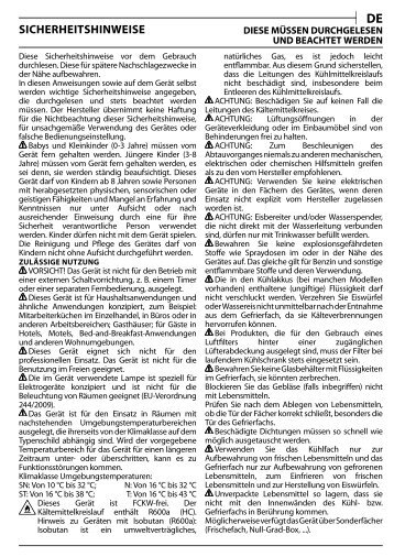KitchenAid T 16 A1 D/I - T 16 A1 D/I DE (F093224) Health and safety