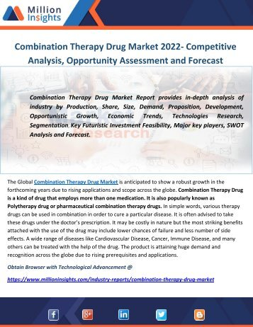 Combination Therapy Drug Industry Report 2022: Market Share of Key Companies and Growth Rate Analysis