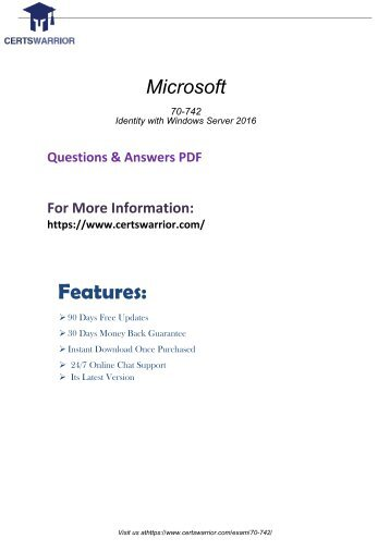 70-742 Dumps with Real PDF Questions Answers 2018