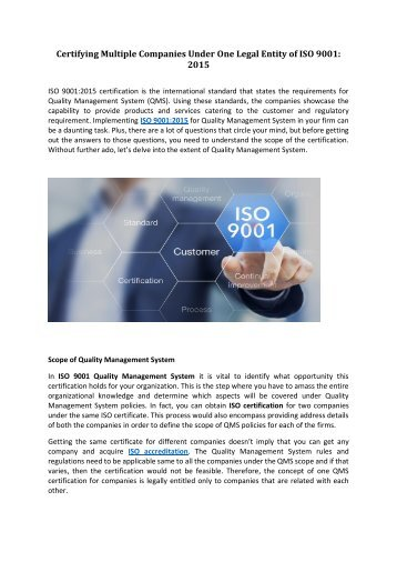Certifying Multiple Companies Under One Legal Entity of ISO 9001 2015