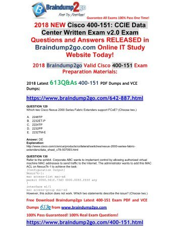 (2018-April-New)Braindump2g 400-151 PDF and 400-151 VCE Dumps 613Q Free Share(129-139)