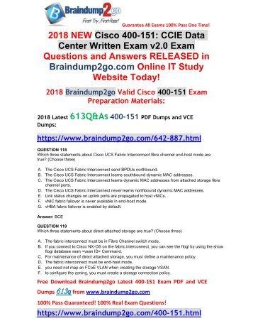 (2018-April-New)Braindump2g 400-151 PDF Dumps 613Q Free Share(118-128)