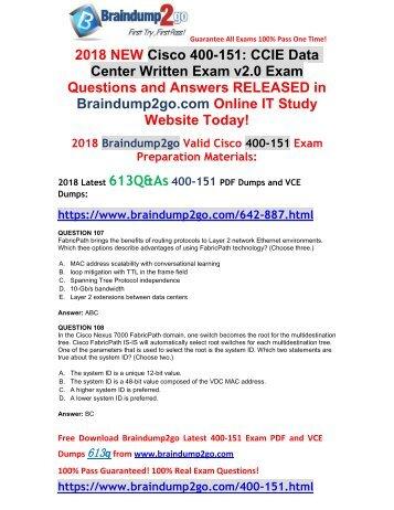(2018-April-New)Braindump2g 400-151 PDF and VCE Dumps 613Q Free Share(107-117)
